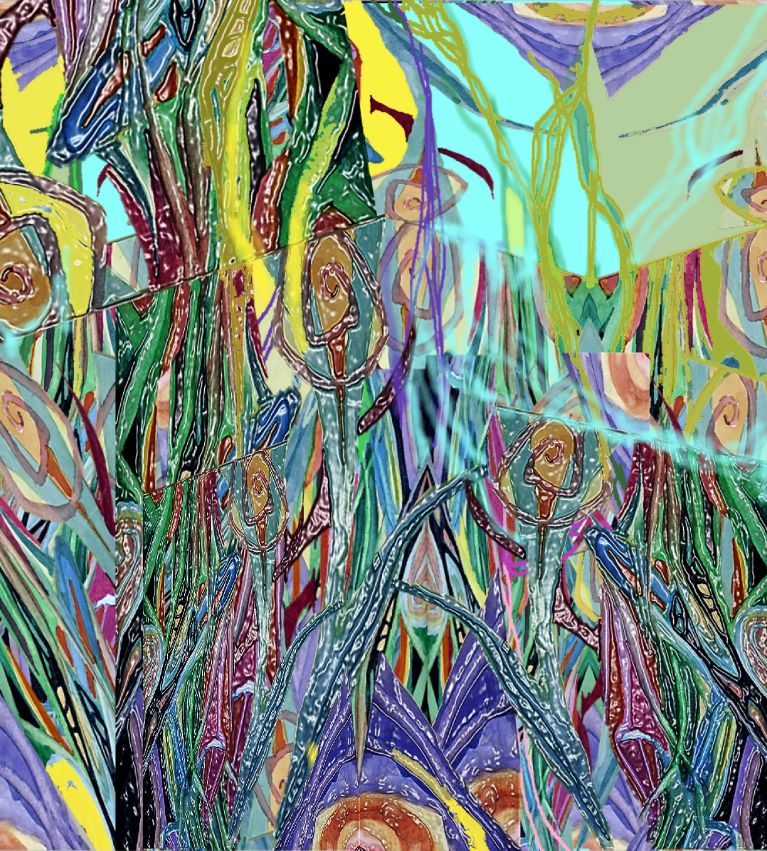Abstract-Magical-Garden-Overgrown-with-Plastic-Flowers