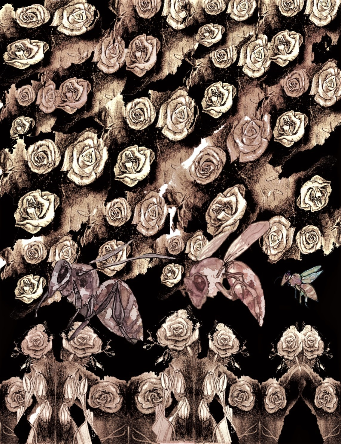 Bees-among-the-roses